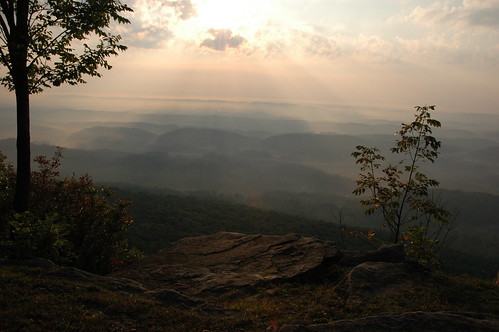 cliff sun fall leaves clouds view rolling brow signalmountain hlls