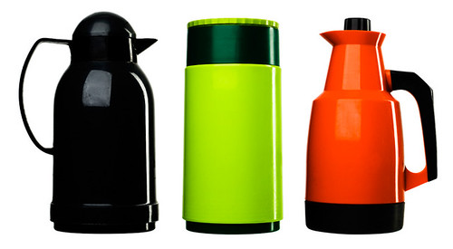 Black, green and red thermos