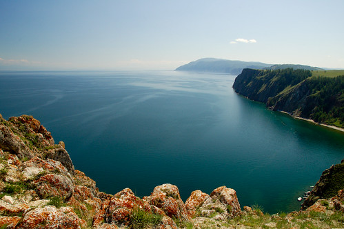lake water landscape view russia calm siberia serenity transsiberian baikal tranquillity