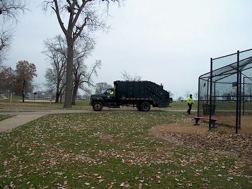 Chicago Park District crew performing routine trash collection. Lincoln Park. Chicago Illinois. November 2006. by Eddie from Chicago