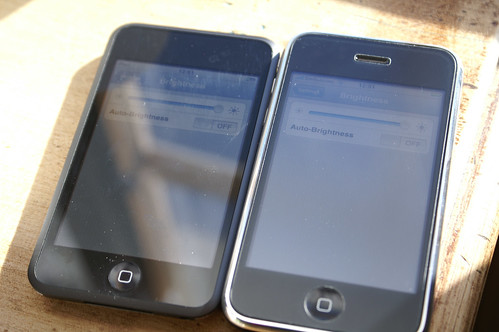iPhone with Matte Screen Protector vs. Plain iPod