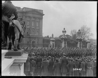 Soldiers marching in London after World War I, May 1919