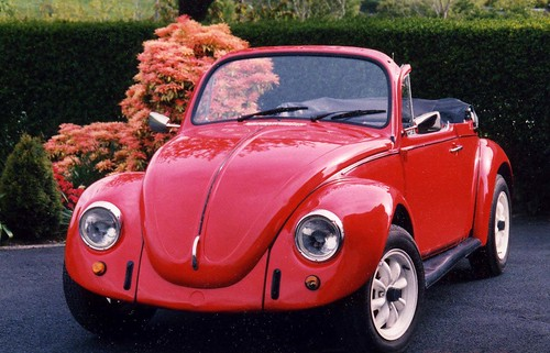 Red VW Beetle Convertible 1977.  My first shot with 1,000 views.