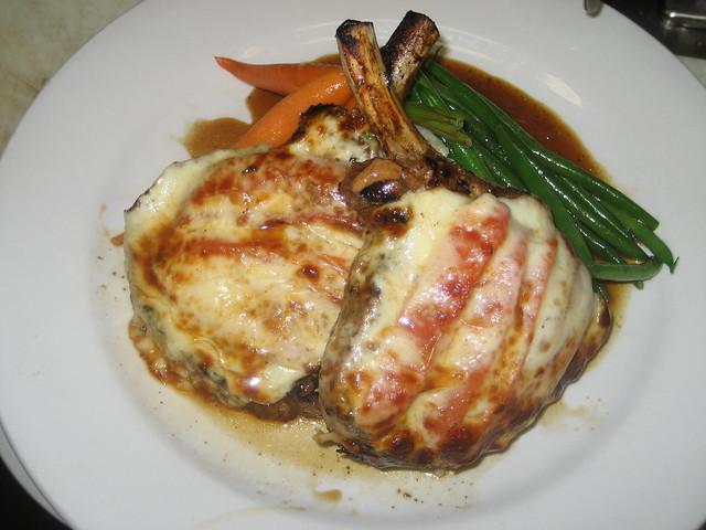 Balsamic kurobuta pork chops w/ provolone and roasted tomato | Flickr ...
