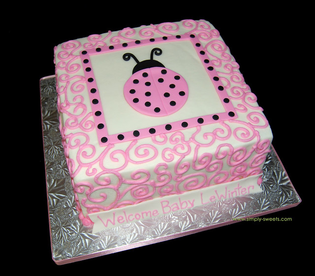 pink and black ladybug themed baby shower cake flickr photo