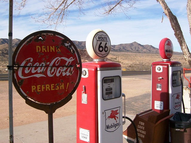 Drink Coca-Cola Refresh!  Old gas pumps and faded signs along Route 66 at Hackberry, Arizona (highway66020xy)