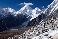 moraine, mountain, winter, snow, glacial landform, mountaineering, mountain range, cirque, backpacking, glacier, summit, ridge, wilderness, mountain pass, massif, mountainous landforms,