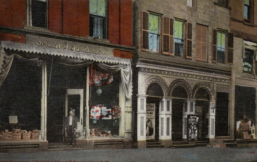 Sanderson's Pharmacy and the Dreamland Theatre, Warren Ohio, early 1900's