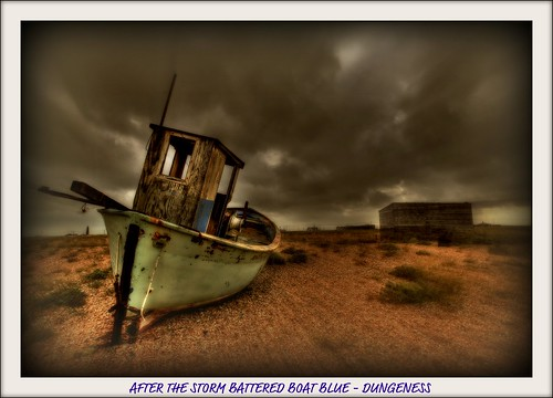 AFTER THE STORM BATTERED BOAT BLUE - DUNGENESS