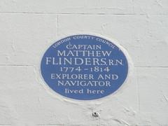 Photo of Matthew Flinders blue plaque
