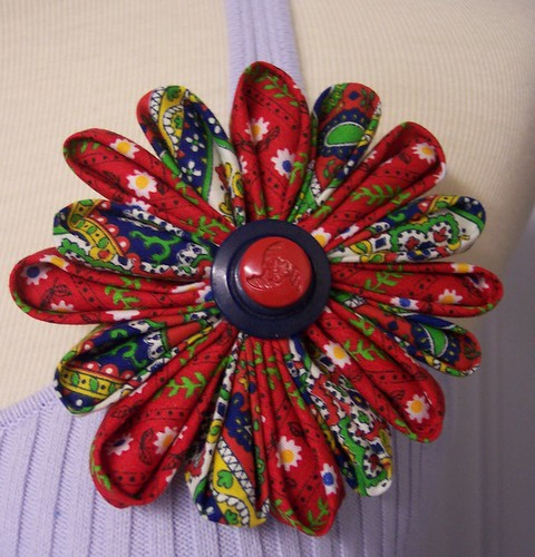 Vintage Fabric Kanzashi Flower  Hand-folded Brooch