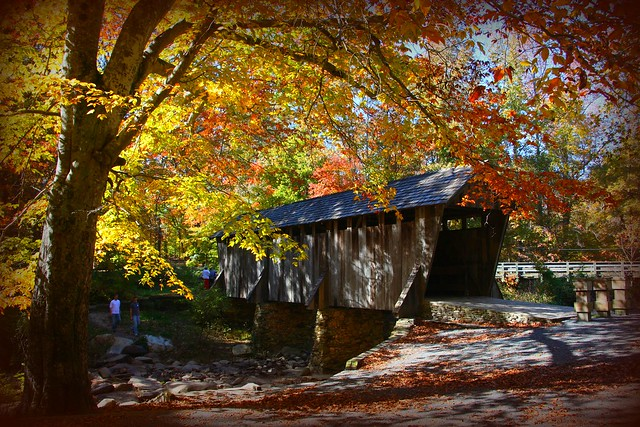 Wooden Structures and Fall Colors - Pisgah Covered Bridge