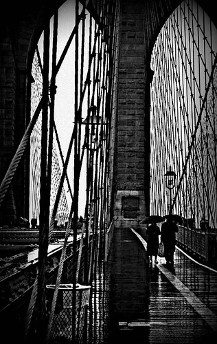 Brollies on Brooklyn Bridge