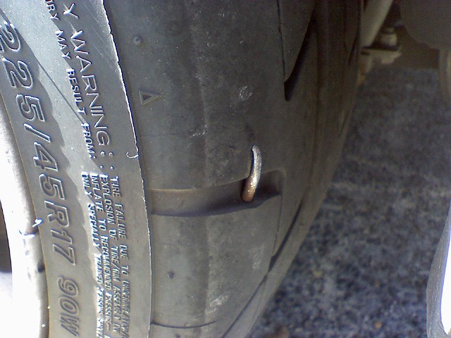 Nail In Tire. | Oh Snap. Thereu0026#39;s A Nail In My Tire. Took It U2026 | Flickr - Photo Sharing!