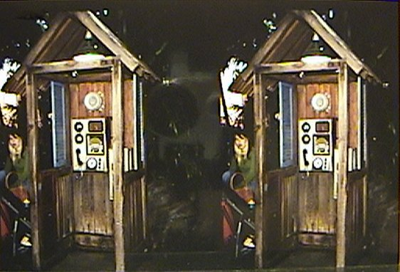 3D stereograph of Radio Payphone, Out of Service, Formerly at  Queue area, Indiana Jones™ Adventure - Temple of the Forbidden Eye, Adventureland, Disneyland®, Anaheim, California