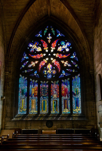 stained glass by Davie Dunn [Pentecost Window, St Michael's Linlithgow], on Flickr