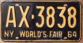 NEW YORK 1964 LICENSE PLATE, with NY WORLD'S FAIR slogan