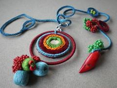 Capsicum Freeform Crochet Necklace