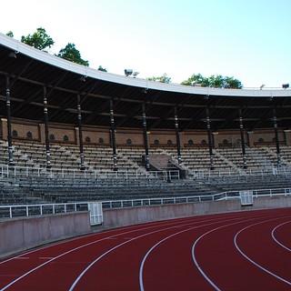 Image of Stockholms Stadion. stand stockholm terrace bleacher tier östermalm tribüne stockholmsstadion tartanbahn djurgårdensif tartantrack stockholmolympicstadium stockholmsolympiastadion
