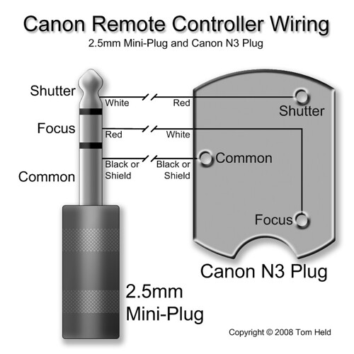 Canon Remote Controller Wiring (2.5mm mini-plug and N3 plug)