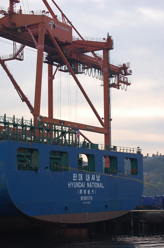 Hyundai container ship cranes