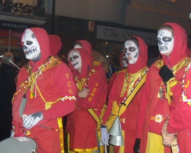 Zombie samba band Lewes circular via Rodmell Lewes bonfire night