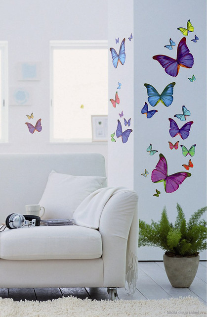 Multi coloured butterflies.