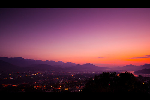 city travel blue sunset panorama orange mountains night canon dark mood purple wide panoramic laos longshutter luangprabang