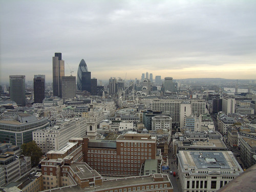 View of City from top of St Paul's Cathedral, London