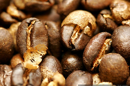 home roasted coffee beans with chaff / parchment    MG 1375