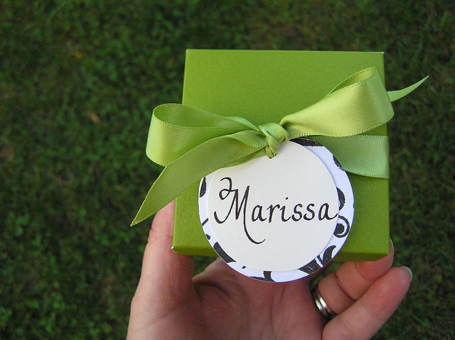 Bridal shower gifts with hand calligraphy name tags