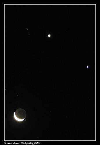 Unlikely Trio: Moon, Jupiter & Venus