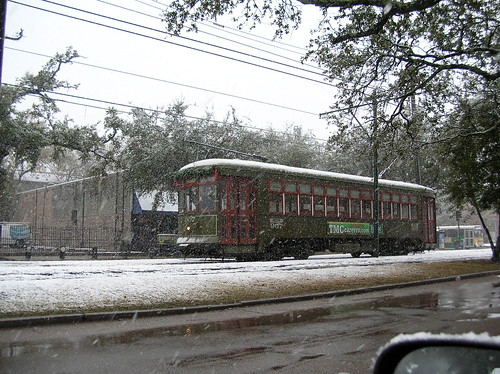 St Charles Streetcar in the snow