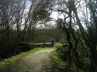 Over a stone bridge