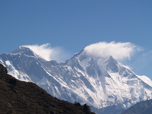 Our first view of Everest (and Lhotse)