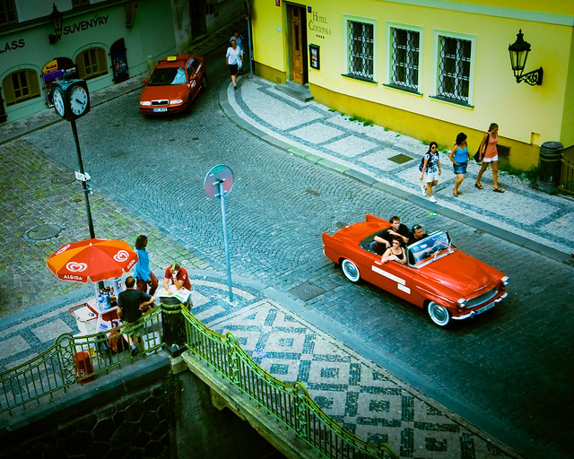 red cars in Prague