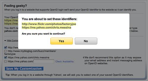 Yahoo! OpenID Set Identifiers