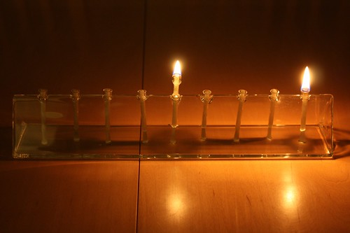 First night Chanukah menorah