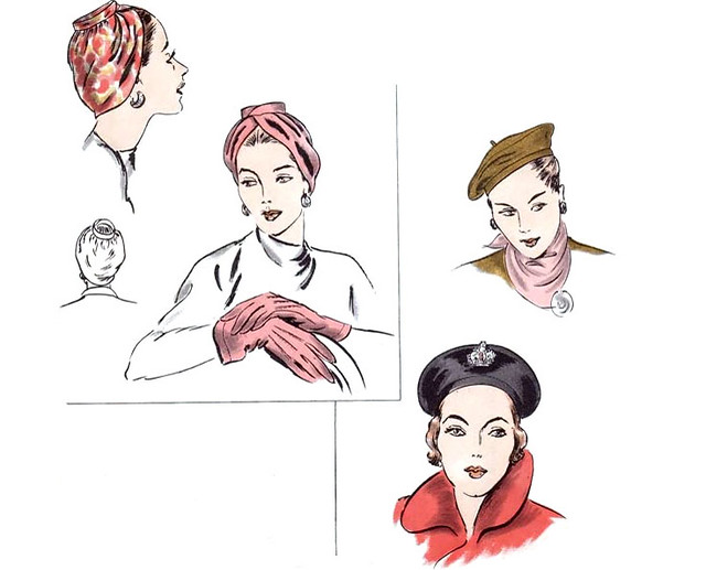 Vintage 1950's Vogue turban and Basque beret hats sewing pattern