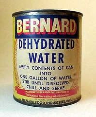 "HUH . . .?!? BERNARD DEHYDRATED WATER Product. (At last, Stephen Wright has some instructions: ""I bought some powdered water but I didn't know what to add."")*"