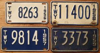 NEY YORK 1956-59 THRUWAY plates