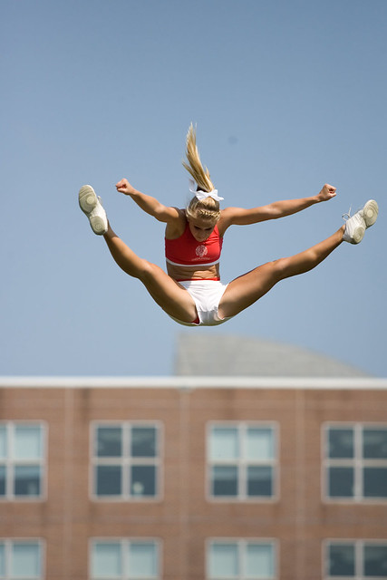 Cheerleader Toe Touch Photos http://www.flickr.com/photos/bradleycheerleading/2988766273/