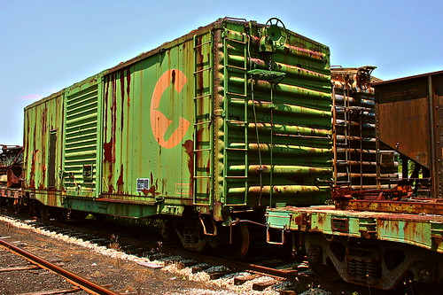 Chessie Boxcar In Storage