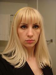 bangs, hime cut, face, hairstyle, layered hair, clothing, head, hair, long hair, bob cut, blond, mouth, eye,