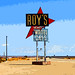 ROY'S Motel and Cafe Sign on Route 66 in Amboy, California (Mojave Desert)