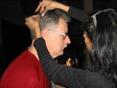 Sticking the hair down