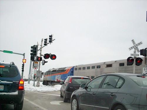 Southbound Metra commuter train. Glenview Illinois. February 2008. by Eddie from Chicago