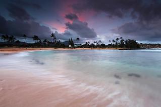 Sunset over Poipu beach - Kauai