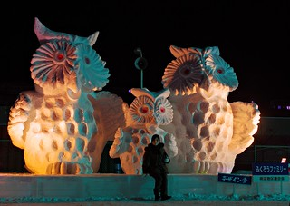 The Abashiri snow festival. The owls are not what they seem