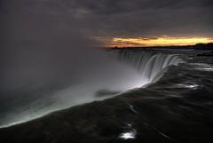 sunrise over dark falls